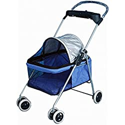 Posh Pet Stroller Blue Dogs Cats with Cup Holder Handle