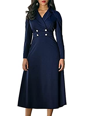 AlvaQ Women's Long Sleeve Wrap V Neck Lapel Buttons A Line Skater Dress