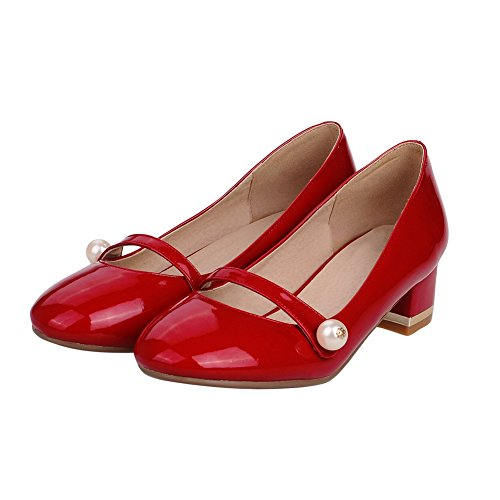 Balamasa Girls Bead Chunky Heels Pull-on Imitated Leather Pumps-shoes Rojo