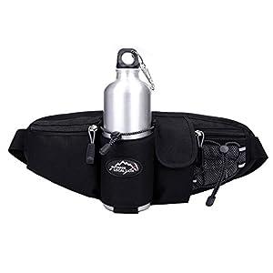 OrrinSports 3-Zipper Nylon Water Resistant Running Waist Bag with Water Bottle Holder (Not Include the Bottle) Black