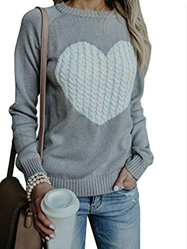 lover Sweaters Knit Long Sleeve Cable Heart Patch Jumper Tops ()