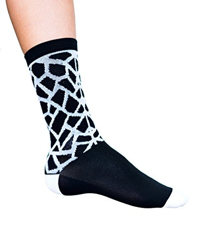 Cosmic Socks 6'' Rock City, Cycling Socks,black, white,size 6-11 by Cosmic Socks