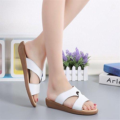 Verano tendón exterior fondo blando cómodas sandalias Cool sandalias Mujer Blanco