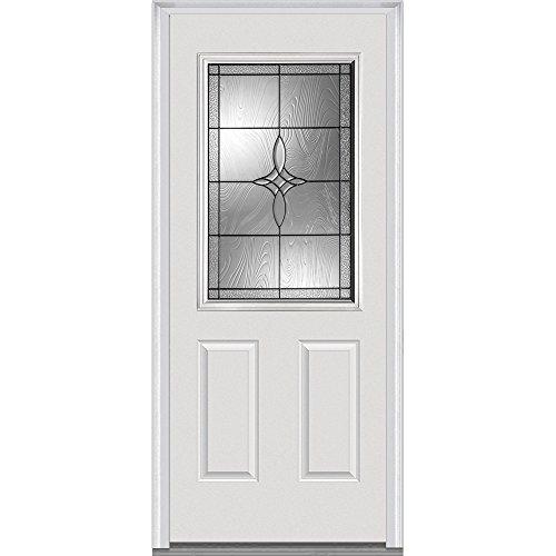 National Door Company Z021393R 1/2 Lite 2-Panel Lenora Decorative Glass Fiberglass Smooth Primed 36