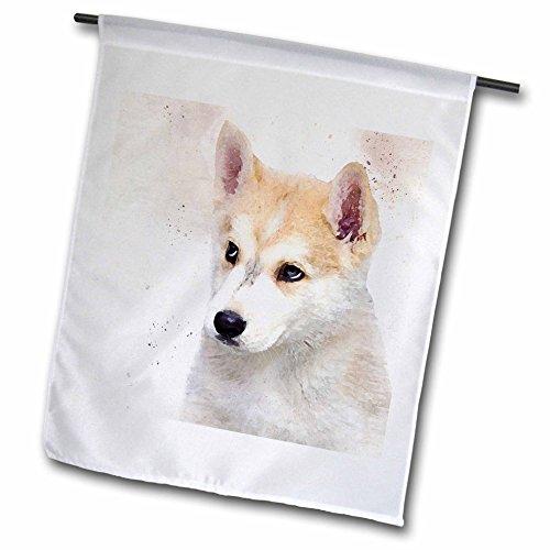 Malamute Sled - Doreen Erhardt Dogs - Watercolor Puppy of an Alaskan Malamute Sled Dog - 12 x 18 inch Garden Flag (fl_245336_1)