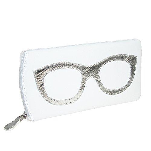 CTM Women's Leather Eyeglass Case with Eyeglass Design, White/Silver