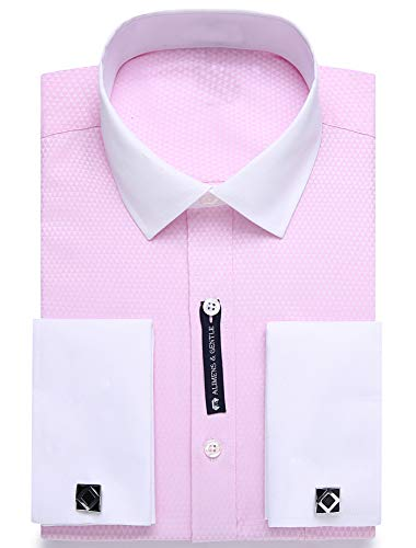 Alimens & Gentle Contrast Collar Solid Color French Cuff Regular Fit Dress Shirts(Color: Pink with White Collar, Size:15