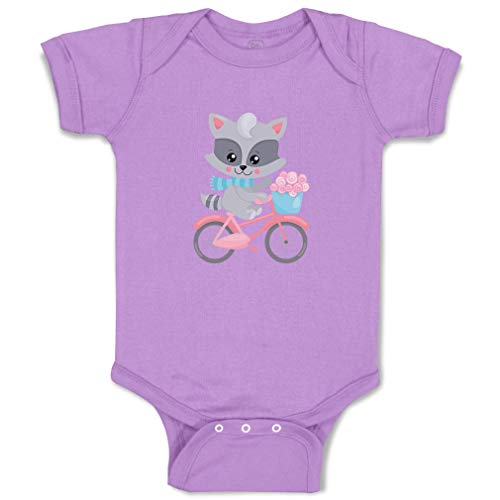 Custom Boy & Girl Baby Bodysuit Raccoon Bike Funny Cotton Baby Clothes Lavender Design Only 6 Months