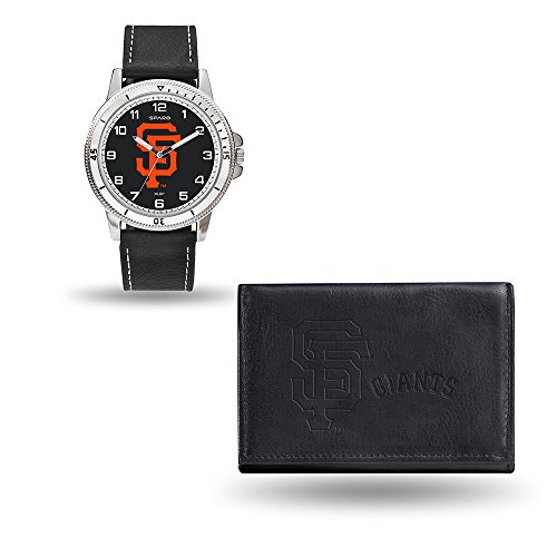 MLB San Francisco Giants Men's Watch and Wallet Set, Black, 7.5 x 4.25 x 2.75-Inch - Giants Mlb Leather