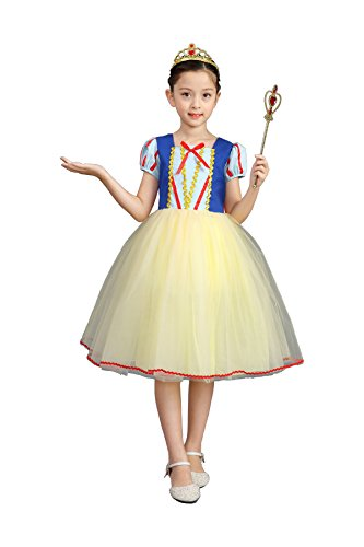 AiMiNa Girls Princess Snow White Costume Fancy Dresses up Halloween Party With Accessories Age Of 7-8 Years(Red) -
