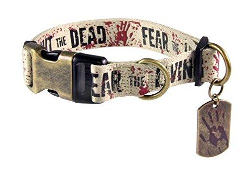 "Hundehalsband, Motiv: The Walking Dead ""Fight The Dead, Fear the Living"" (englischsprachig), verstellbar, Nylon XL"
