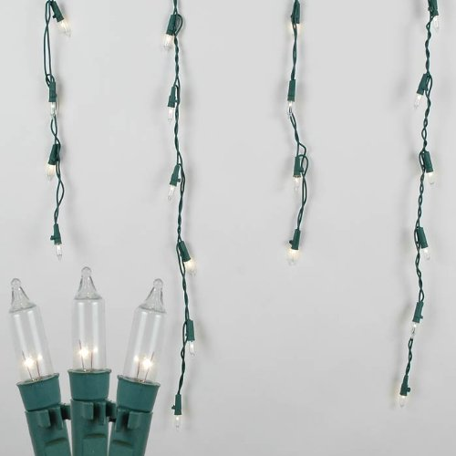 Light Chasing Clear Green Wire - 15 Foot Commercial Grade Outdoor Icicle Light Set, Green Wire, Long Drop, 150 Light
