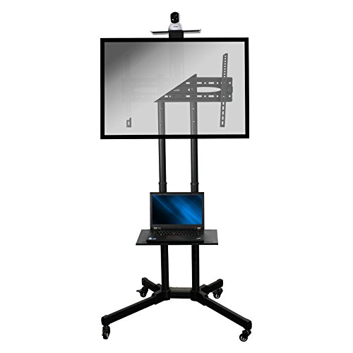 NavePoint Rolling TV Stand Mobile TV Cart Adjustable Height with Component and Webcam Shelf