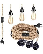 E27-sockel med kabel – lamputtag E27 med kabel och strömbrytare – textilkabel med uttag – lampkabel – pendellampa – 4,5 meter