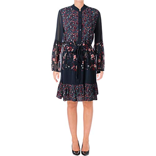 Juicy Couture Black Label Womens Floral Print Mini Babydoll Dress Navy M -