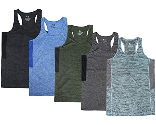 Active Sleeveless Top - 5 Pack:Women's Quick Dry Fit Dri-Fit Ladies Tops Athletic Yoga Workout Running Gym Active wear Exercise Clothes Racerback Sleeveless Flowy Tank Top - Set 4,XXL
