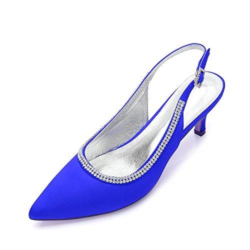L@YC Zapatos Para Mujer De La Boda D99634-9 Rhinestone Ladies Low Mid Heel Pumps Ocultos Trabajo De La Plataforma Formal Court Shoes Size Blue