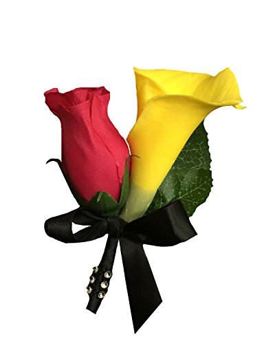 3.5' Rose (Boutonniere - Real Touch Yellow Calla Lily with Hot Pink Rose Bud.pin Included)