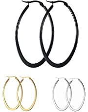 MengPa Women's Hoop Earrings Stainless Steel or Black Gold Plated Lightweight Jewelry