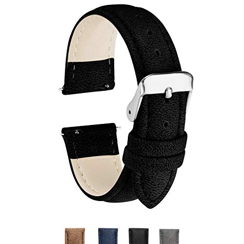 Quick Release Watch Band,Unisex Vegan Leather Watch Band Soft & Waterproof Replacement Strap 18mm,20mm,22mm Width Black/Blue/Brown/Gray Color Faux Leather Watch Strap for Men Women