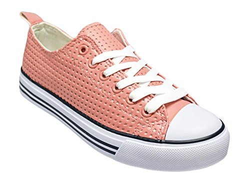 Shop Pretty Girl Women's Sneakers Casual Canvas Shoes Solid Colors Low Top Lace up Flat Fashion Mauve Perforated Pu