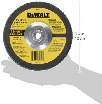 DEWALT DW8327 7 X 5//8-11 36 Grit Zirconia Angle Grinder Flap Disc