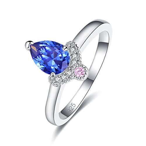 Narica Women's 925 Sterling Silver Filled Pear Cut Tanzanite Promise Proposal Engagement Wedding Rings Size 9