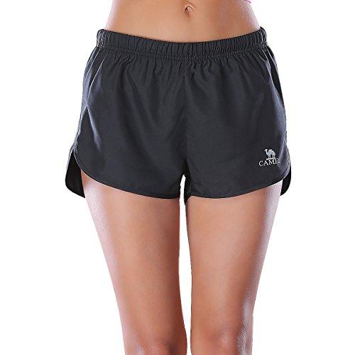 Camel Athletic Shorts Women Girls Plain Running Yoga Fitness Workout Sports Shorts Plus Size (Black, (Loose Fit Girls Shorts)
