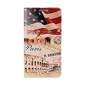 Fashionable USA Flag and Paris Eiffel Tower Pattern Full Body Leather Case with Stand for Samsung Galaxy S5 I9600 Protective Case
