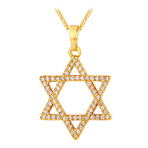 18k Star Necklace (Women Jewish Jewelry 18K Gold Plated Chain Cubic Zirconia Star of David Pendant Necklace)