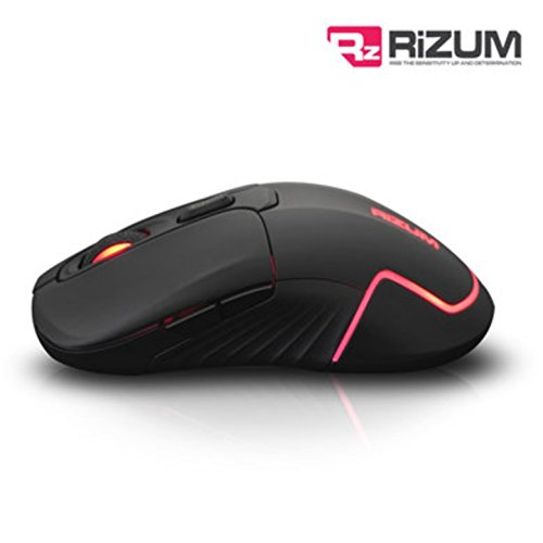 Rizum G∙Factor Z4 Pro Gaming Mouse BLACK - Super Accurate and Precise Pro Gaming Optical Mouse - Illuminates with 16.8 million LED color Omron Professional Switch