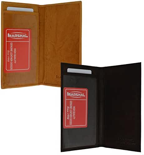 Marshal Checkbook Covers - Set of 2 - Genuine Leather (brown and tan)