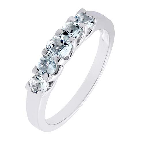 (Sterling Silver Genuine Natural Aquamarine 5 Stones Band Ring )