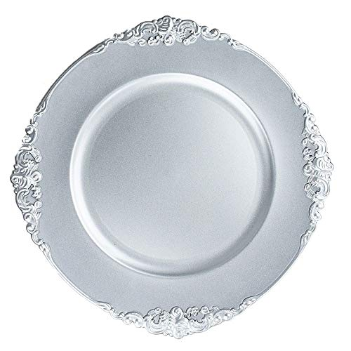 Quasimoon PaperLanternStore.com 13 Inch Silver Heavy Duty Wedding Charger Plate with Medieval Trim (6-Pack)]()