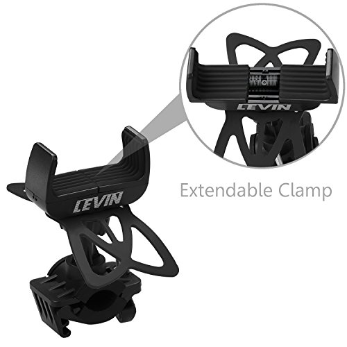 Levin Universal Smartphone Bike Mount Holder with 360 Degree Rotate for iPhone 6S/6/5S/5C/5, Samsung Galaxy S5/S4/S3, Google Nexus 5/4, LG G3, HTC and GPS Device