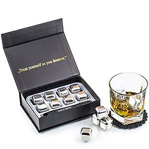 Esclusivo Whisky Stones Set di Regalo in Acciaio Inox - 8 Cubetti di Ghiaccio per Lui - Whiskey Riutilizzabili - Set di… 6
