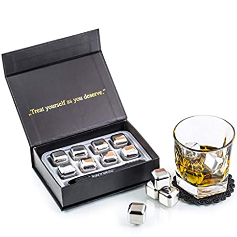 Exclusive Whiskey Stones Gift Set - High Cooling Technology - Reusable Ice Cubes - Stainless Steel Whiskey Ice Cubes - Whiskey Rocks - Whiskey Gifts for Men - Best Man Gift with Coasters + Ice Tongs - 41dU H5ZiDL - Exclusive Whiskey Stones Gift Set – High Cooling Technology – Reusable Ice Cubes – Stainless Steel Whiskey Ice Cubes – Whiskey Rocks – Whiskey Gifts for Men – Best Man Gift with Coasters + Ice Tongs