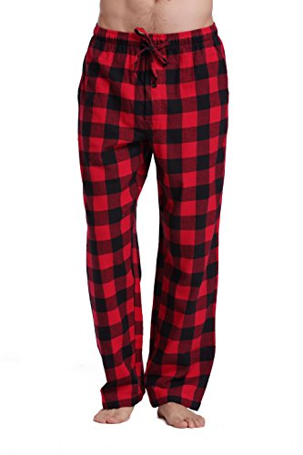 CYZ Men's 100% Cotton Super Soft Flannel Plaid Pajama Pants-BlackRedGingham-S
