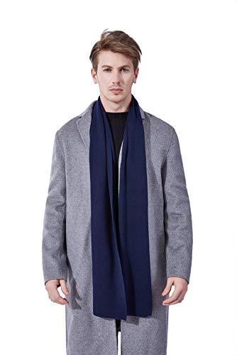 - KUMONE Men Winter Cashmere Scarf Rich Wool Knit Scarves, Navy