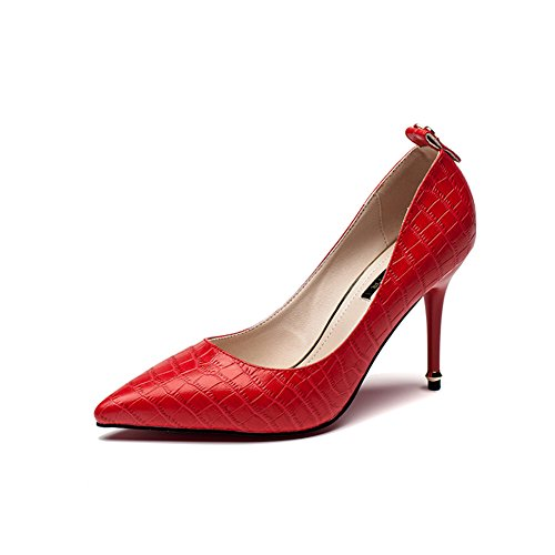 Hoxekle Women Sexy High Heels Stiletto Pumps Spring Fashion New Element Shoes Red