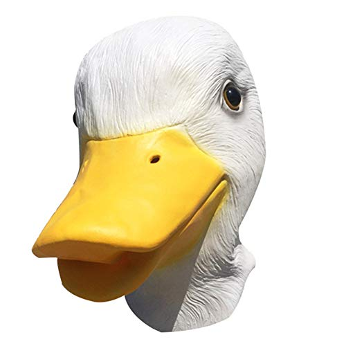 legius White Duck Animal Latex Head Mask for Halloween Custome, Fun Halloween Accessories, Novelty Halloween Costume Party Animal Head Mask. ()