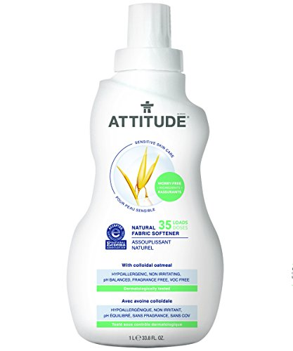 Attitude Natural Fabric Softener, Fragrance Free, 33.8 Fluid Ounce