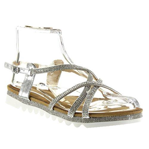 Angkorly - Chaussure Mode Sandale semelle basket femme multi-bride strass diamant boucle Talon plat 2.5 CM - Argent