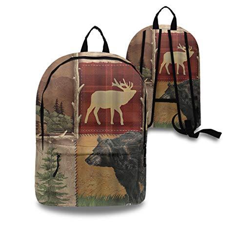 Premium PU Leather Rustic Lodge Bear Moose Backpack Waterproof School College Laptop Backpack Travel Hiking Casual Daypack Rucksack Laptop Compartment Backpack