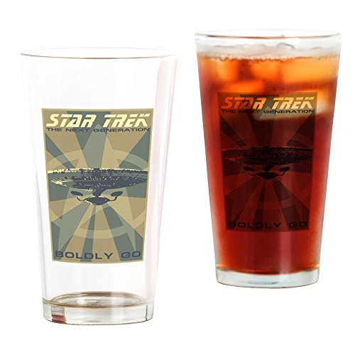 CafePress Retro Star Trek:TNG Poster Pint Glass Pint Glass, 16 oz. Drinking Glass -