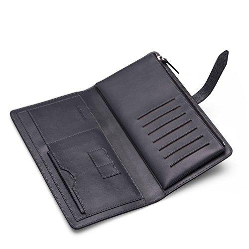 Teemzone Unterarmtasche Geldbörse Geldbeutel Geldtasche Portemonnaie für Herren Echtes Rindleder