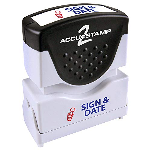 Sign Message Stamp - ACCU-STAMP2 Message Stamp with Shutter, 2-Color, SIGN AND DATE, 1-5/8