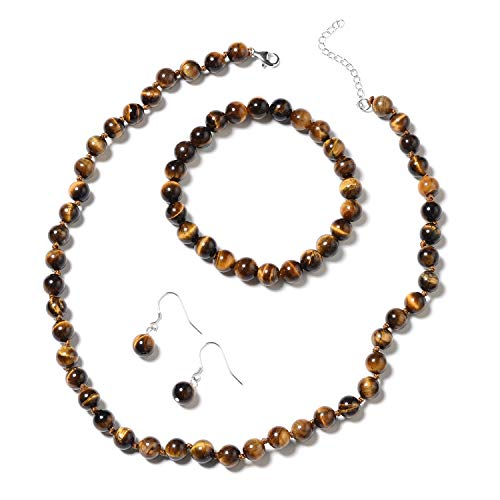 925 Sterling Silver Round Beads Natural Tigers Eye Handmade Beaded Buddhist Bracelet Earrings Mala Necklace Jewelry Set for Women Stretchable]()