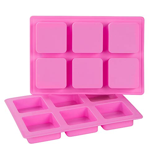 Webake Silicone Brownie Pan 2 Pack Square Bar Molds For Baking, Cupcake, Cheesecake, Cornbread, Muffin, Sponge Cake, Soap, Resin Epoxy Casting ()
