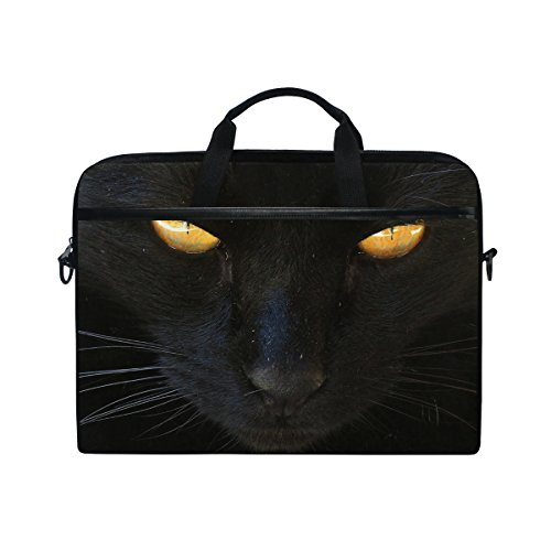Ahomy Black Cat Anger 15 Inch Canvas Laptop Shoulder Sleeve Messenger Bag Case With Handle  14 To 15 Inch Notebook   Tablet Briefcase